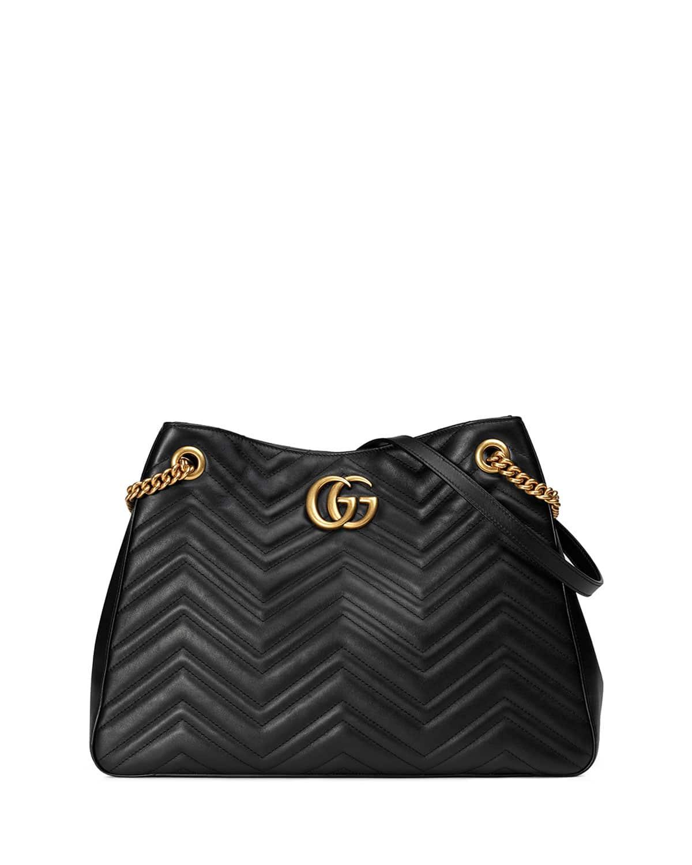Gucci Black Gg Marmont Matelasse Shoulder Bag