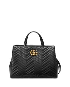 Gucci Black GG Marmont Medium Matelasse Top-Handle Bag
