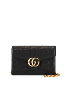 Gucci Black GG Marmont Pearly Matelasse Wallet-on-Chain Bag