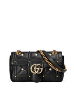 Gucci Black GG Marmont Small Pearly Shoulder Bag