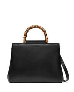 Gucci Black Nymphea Medium Bamboo-Handle Tote Bag