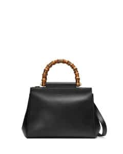 Gucci Black Nymphea Small Bamboo-Handle Tote Bag