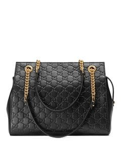 Gucci Black Signature Chain-Handle Tote Bag