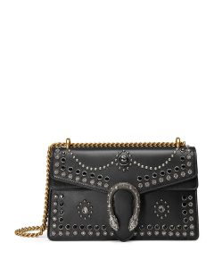 Gucci Black Studded Leather Dionysus Chain Shoulder Bag