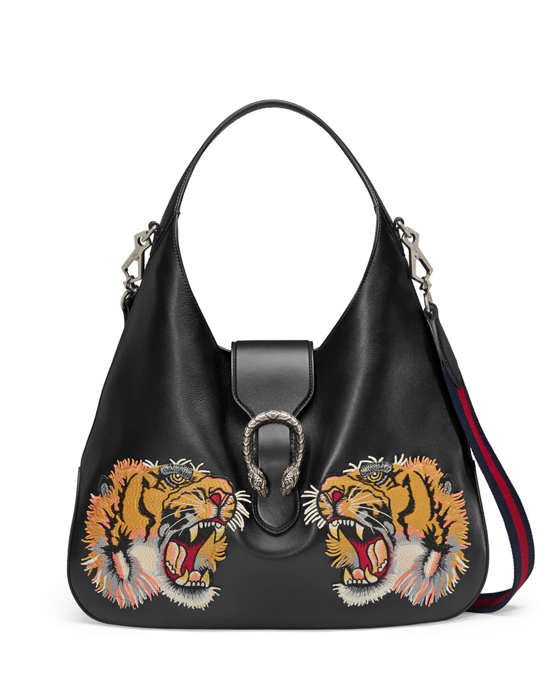 Gucci Black Tiger Embroidered Dionysus Hobo Bag