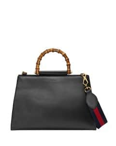 Gucci Black/Red Nymphea Medium Bamboo-Handle Tote Bag