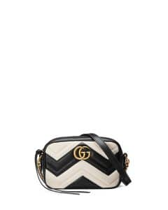 Gucci Black/White GG Marmont Mini Matelasse Camera Bag
