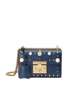 Gucci Blue Padlock Small Studded Leather Shoulder Bag