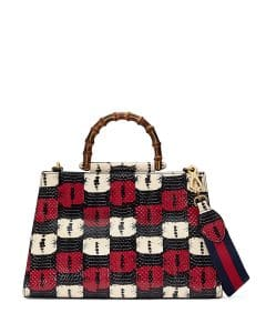 Gucci Blue/White/Red Snake Print Nymphea Medium Bamboo-Handle Tote Bag