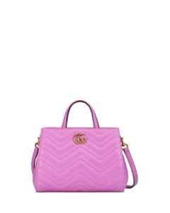 Gucci Bright Pink GG Marmont Small Matelasse Top-Handle Bag
