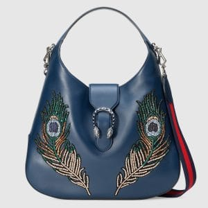 Gucci Dark Blue Peacock Embroidered Dionysus Hobo Bag