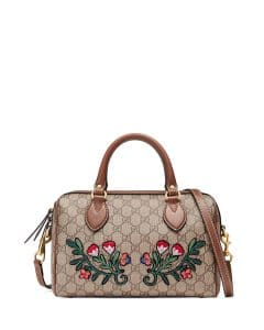 Gucci GG Supreme Embroidered Top-Handle Small Boston Bag