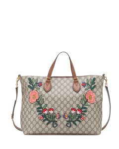 Gucci GG Supreme Floral Embroidered Top-Handle Tote Bag
