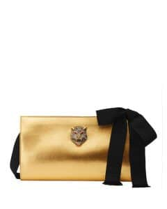 Gucci Gold Metallic Leather Clutch Bag