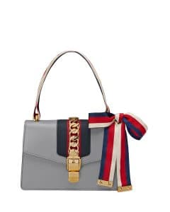Gucci Gray Sylvie Small Leather Shoulder Bag