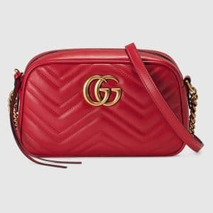 Gucci Hibiscus Red GG Marmont Matelasse Small Chain Shoulder Bag