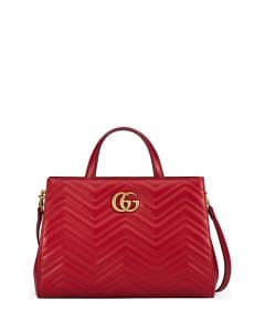 Gucci Hibiscus Red GG Marmont Medium Matelasse Top-Handle Bag