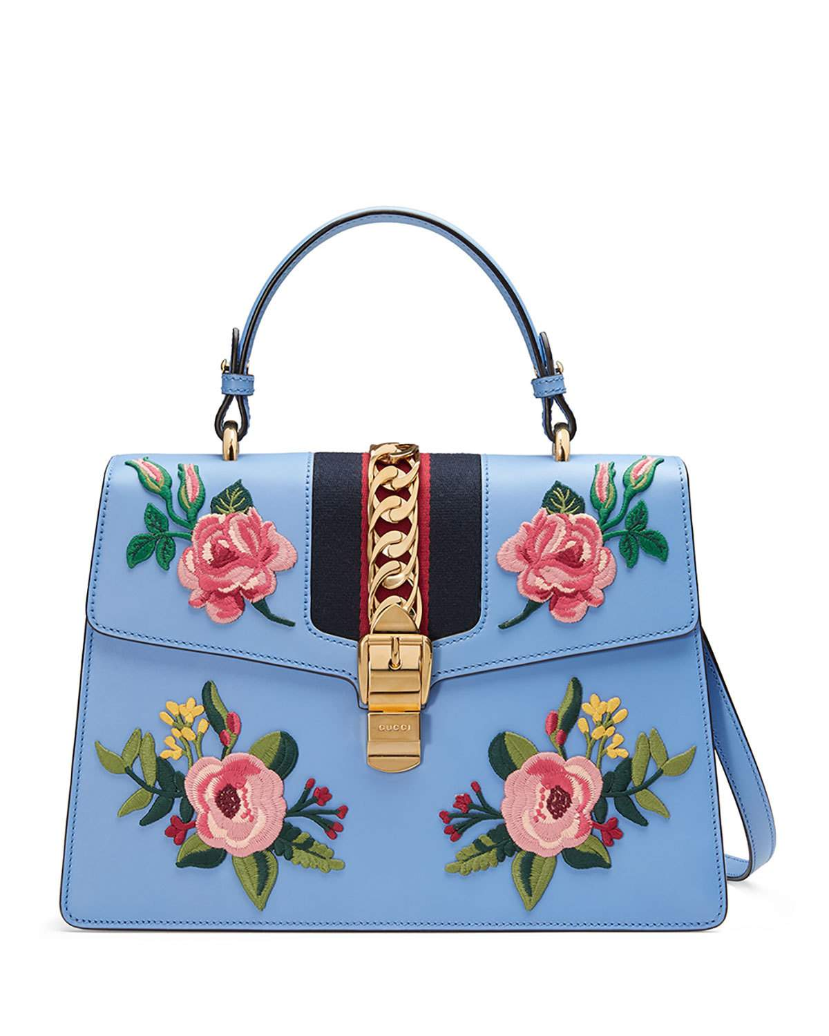 Gucci Light Blue Sylvie Embroidered Leather Top Handle Satchel Bag