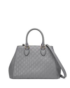 Gucci Medium Gray Signature Top-Handle Tote Bag