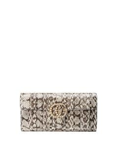 Gucci Natural GG Marmont Pearly Snakeskin Clutch Bag