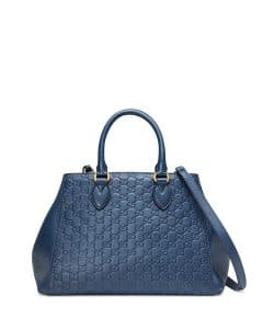 Gucci Navy Signature Top-Handle Tote Bag