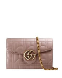 Gucci Nude GG Marmont Pearly Matelasse Wallet-on-Chain Bag