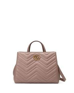 Gucci Nude GG Marmont Small Matelasse Top-Handle Bag