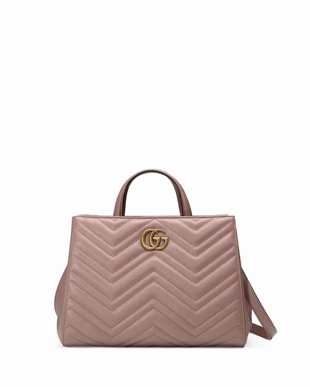 5e60184bc85b3b Gucci Nude GG Marmont Small Matelasse Top-Handle Bag