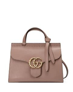 Gucci Nude GG Marmont Small Pearly Top-Handle Satchel Bag