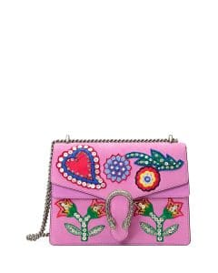 Gucci Pink Dionysus Medium Beaded Heart Shoulder Bag