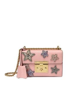 Gucci Pink Padlock Small Crystal Star Shoulder Bag