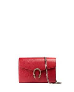 Gucci Red Dionysus Leather Mini Chain Wallet