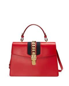 Gucci Red Sylvie Leather Top-Handle Satchel Bag