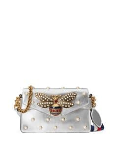 Gucci Silver Broadway Pearly Bee Shoulder Bag