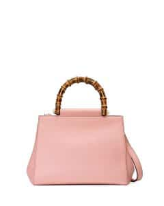 Gucci Soft Pink Nymphea Small Bamboo-Handle Tote Bag