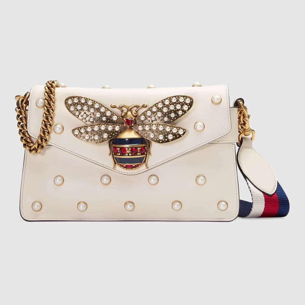 d65e3cd7124c39 Gucci White Bee Detail and Pearl Studded Broadway Leather Clutch Bag