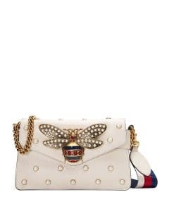 Gucci White Broadway Pearly Bee Shoulder Bag