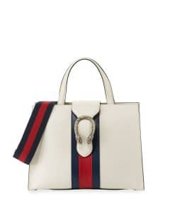 Gucci White Dionysus Medium Web-Stripe Top-Handle Bag