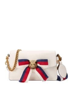 Gucci White Leather Bow Flap-Top Bag