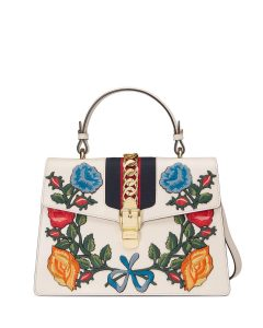 Gucci White Multicolor Sylvie Embroidered Leather Top-Handle Satchel Bag