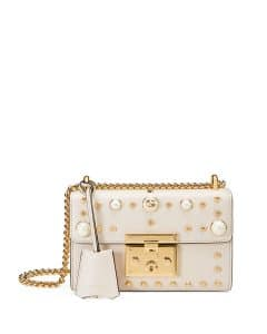 Gucci White Padlock Small Studded Leather Shoulder Bag