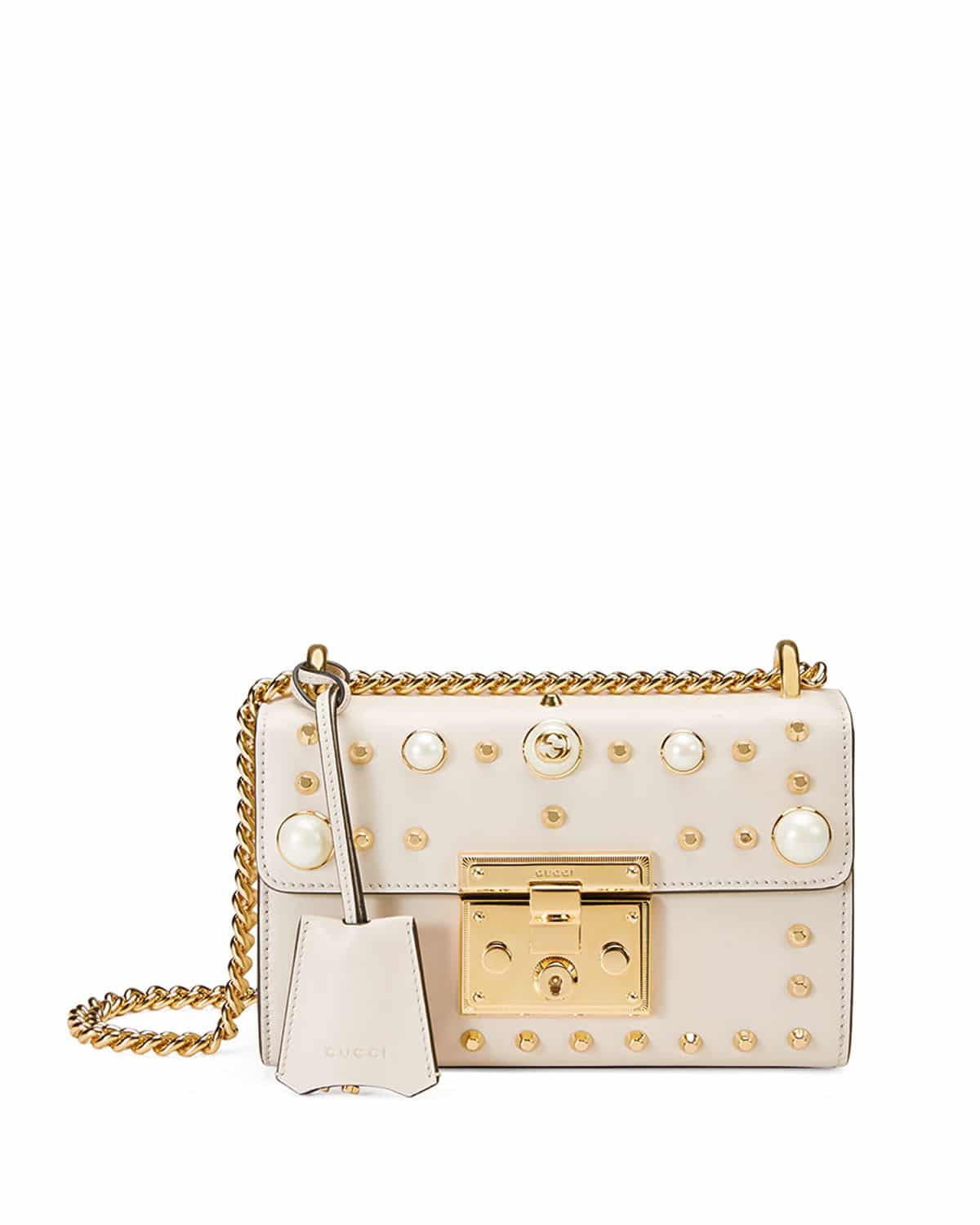 b7711d62280a Gucci White Padlock Small Studded Leather Shoulder Bag