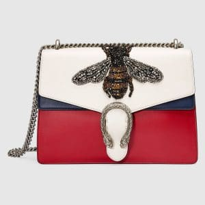 Gucci White/Red/Blue Bee Embroidered Medium Dionysus Shoulder Bag