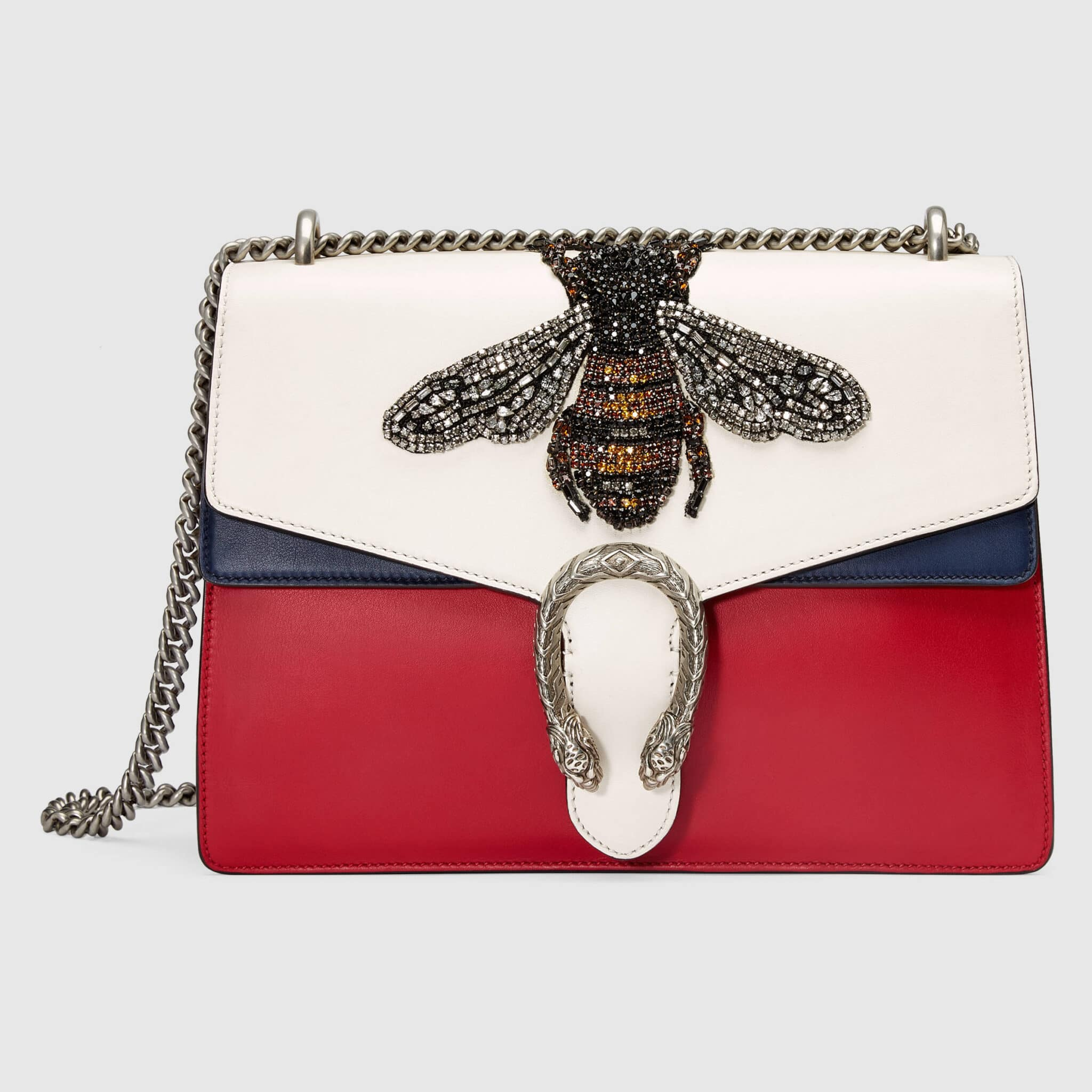 Gucci White Red Blue Bee Embroidered Medium Dionysus Shoulder Bag 5989bfe18dbb7