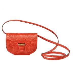 Hermes Poppy Orange Smooth Alligator Mini Convoyeur Bag