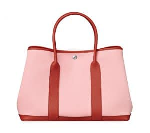 Hermes Sakura Pink/Red Canvas/Cowhide Garden Party 36 Bag