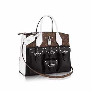 Louis Vuitton Black/White Smooth Calfskin and Monogram Canvas City Steamer MM Bag