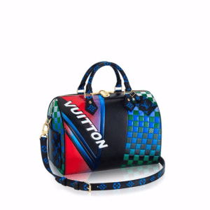 Louis Vuitton Bleu/Fuchsia Race Print Speedy Bandouliere 30 Bag