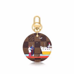 Louis Vuitton Damier Ebene Transatlantic Cruises Print Illustre Evasion Bag Charm and Key Holder