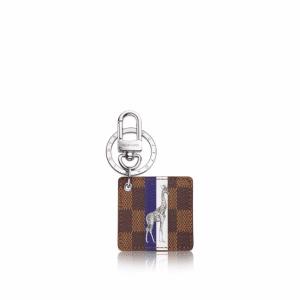 Louis Vuitton Damier Ebene with Giraffe Illustre Savane Bag Charm and Key Holder